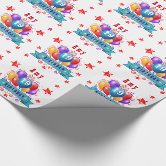 19th Birthday Festive Balloons and Red Stars 106Z Wrapping Paper