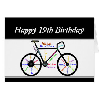 19th Birthday Motivational Bike Bicycle Cycling Card