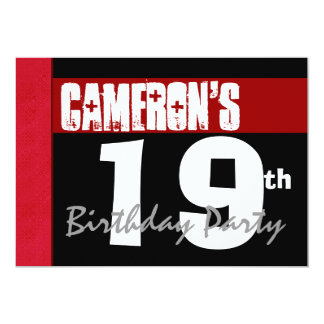 19th Birthday Party Modern Red Black and White Card