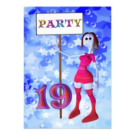 19th Birthday party sign board invitation