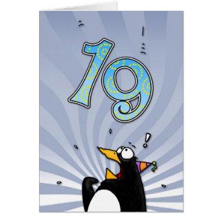 19th Birthday - Penguin Surprise Card