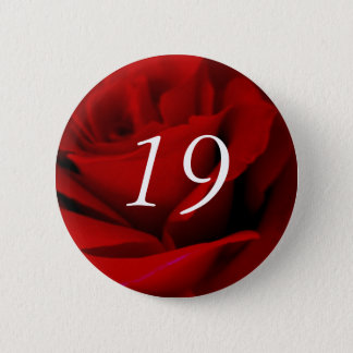 19th Birthday Red Rose Button