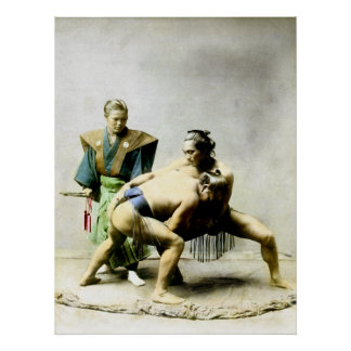 19th C. Japanese Wrestlers Poster