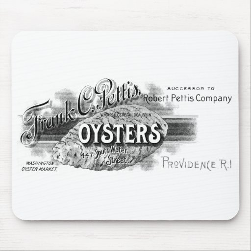 19th C. Oysters, black Mousepad