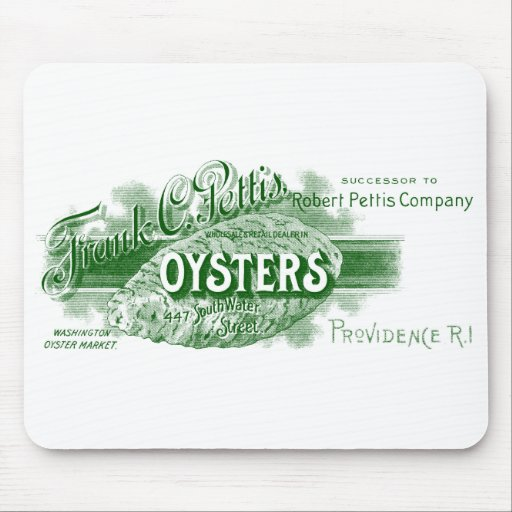 19th C. Oysters, green Mouse Pads