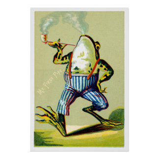 19th C. Pipe Smoking Frog Poster