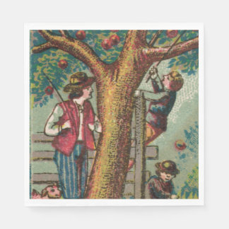 19th Century Apple Picking Napkin Disposable Serviette