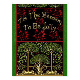 19th Century Arts and Crafts Inspired Christmas Postcard