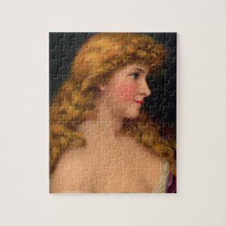 19th century beautiful woman with long hair jigsaw puzzle
