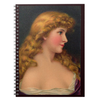 19th century beautiful woman with long hair notebook