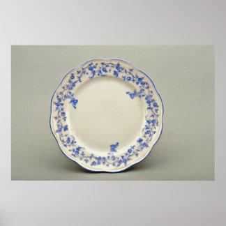 19th century dessert plate, Berlin, Germany  flowe Print