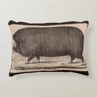 19th century farm animal print Berkshire sow pig Decorative Cushion