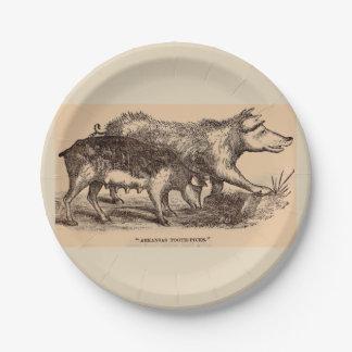 19th century farm animal print pigs paper plate