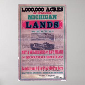 19th Century Grand Rapids Railroad  Broadside Poster