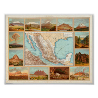 19th Century Map of Mexico Poster
