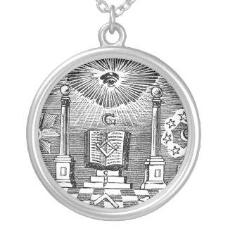 19th Century Masonic Blockcut engraving Necklace