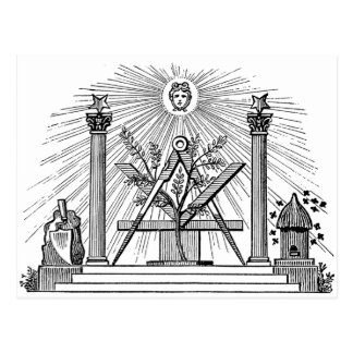 19th Century Masonic G Kenning Blockcut engraving Postcard