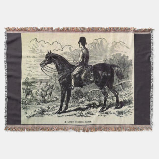 19th century print A Light Hunting Horse Throw Blanket