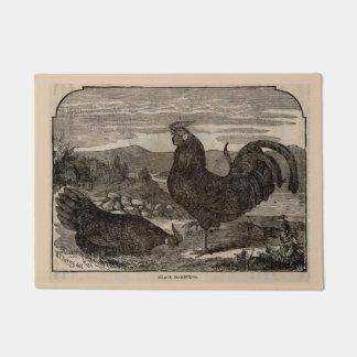 19th century print black Hamburg hen and rooster Doormat