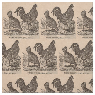 19th century print Bucks County fowls chickens Fabric