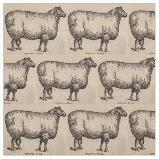 19th century print Cotswold sheep print Fabric
