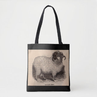 19th century print Highland sheep Tote Bag