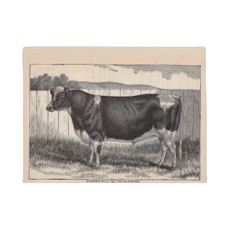 19th century print Holstein bull Doormat