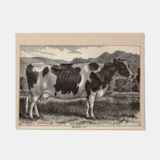 19th century print Holstein cow Doormat