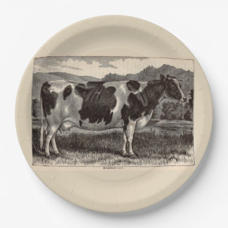 19th century print Holstein cow Paper Plate