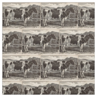 19th century print Holstein heifer Fabric