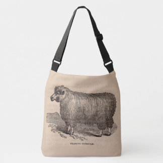 19th century print yearling Cotswold sheep Crossbody Bag