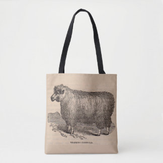 19th century print yearling Cotswold sheep Tote Bag