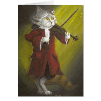 19th Century Violinist Cat card