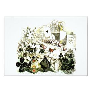 19th Century Wonderland-esque Woodcut 13 Cm X 18 Cm Invitation Card