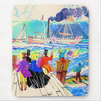 19th century yacht race mouse pad