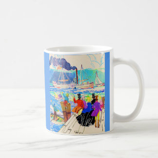 19th century yacht race print coffee mug