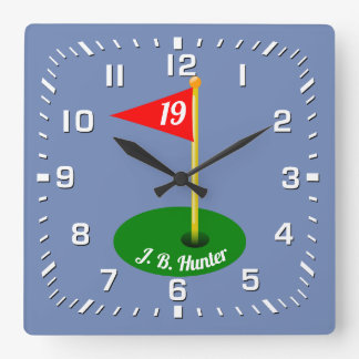 19th Hole and Your Text Square Wall Clock