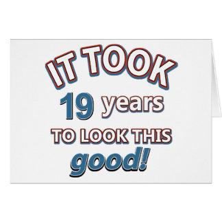 19th year birthday designs card