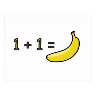 1 + 1 = Banana Postcard