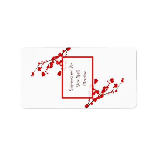 "1.25""x2.75"" Hersheys Miniature Red Cherry Blossom Address Label"