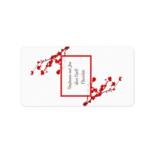 "1.25""x2.75"" Hersheys Miniature Red Cherry Blossom Label"