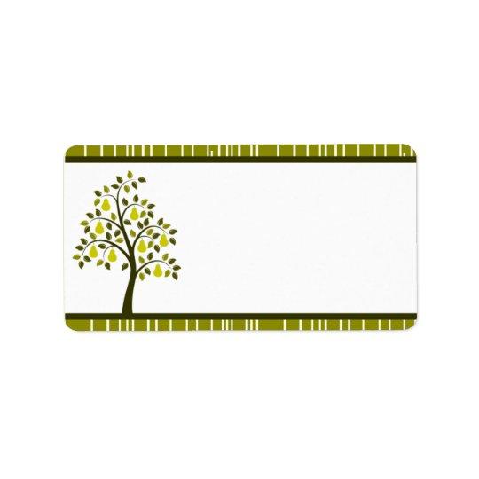 "1.25"" x 2.75"" Mailing Address Green Pear Fruit Str Address Label"