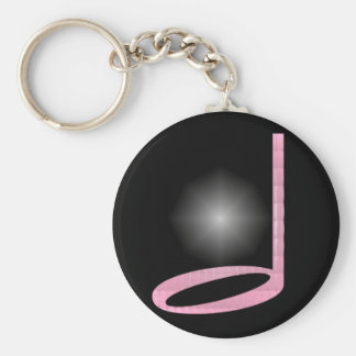 1/2 Half Note Basic Round Button Key Ring