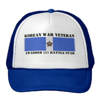 1 BATTLE STAR KOREAN WAR VETERAN HAT
