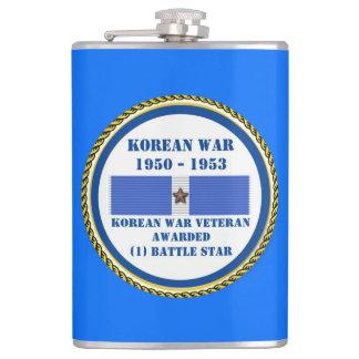 1 BATTLE STAR KOREAN WAR VETERAN HIP FLASK