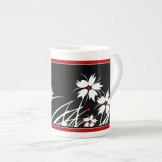 1 Bone China Mug Floral Red Black White DECOR SETS Porcelain Mugs