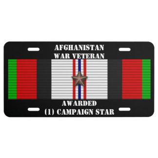 1 CAMPAIGN STAR AFGHANISTAN WAR VETERAN LICENSE PLATE