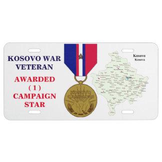 1 CAMPAIGN STAR KOSOVO WAR VETERAN LICENSE PLATE