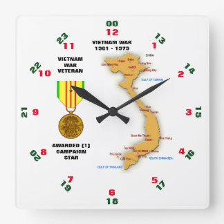 1 CAMPAIGN STAR VIETNAM WAR VETERAN SQUARE WALL CLOCK