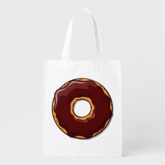 1 Cartoon Chocolate Donut Design Reusable Grocery Bag